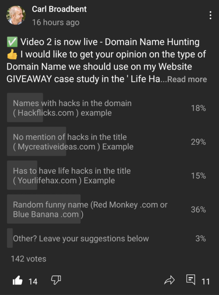 domain name hunting poll