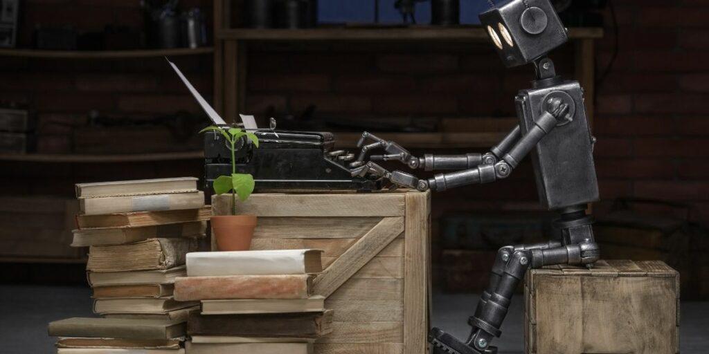 robot writing a story