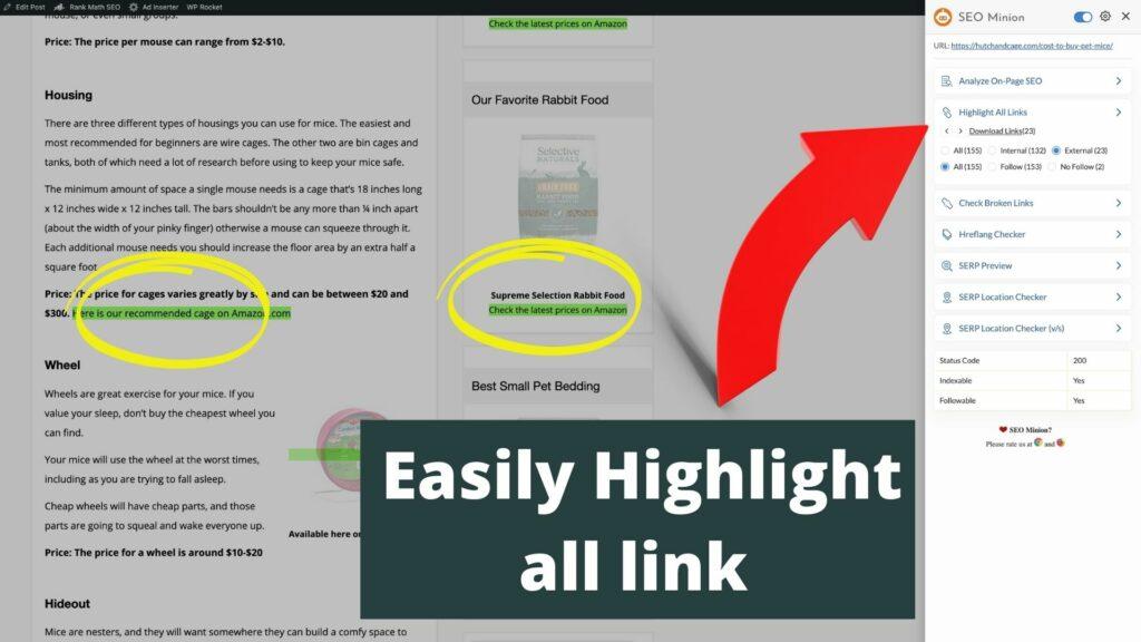 highlight all links