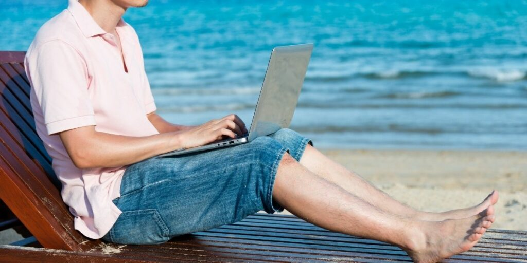 working from a beach