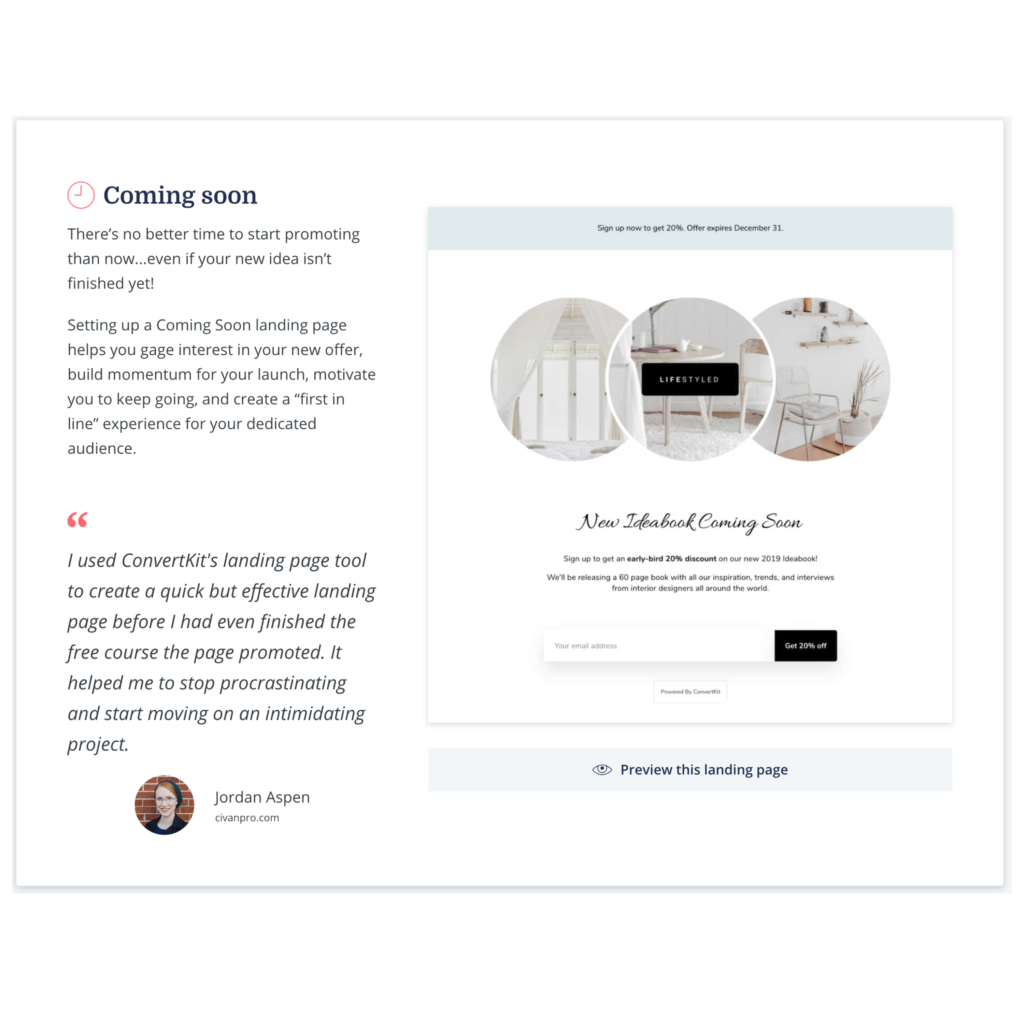 comin soon landing pages