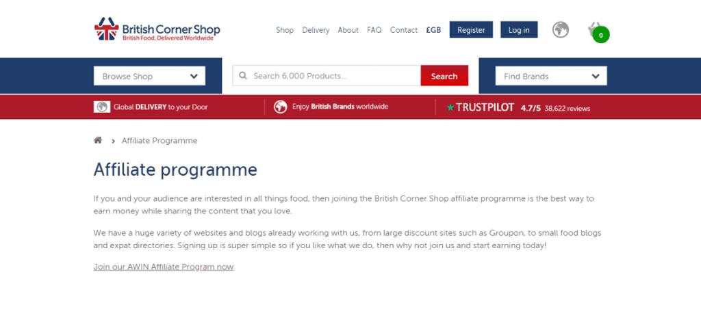 British Corner Shop Affiliate Program