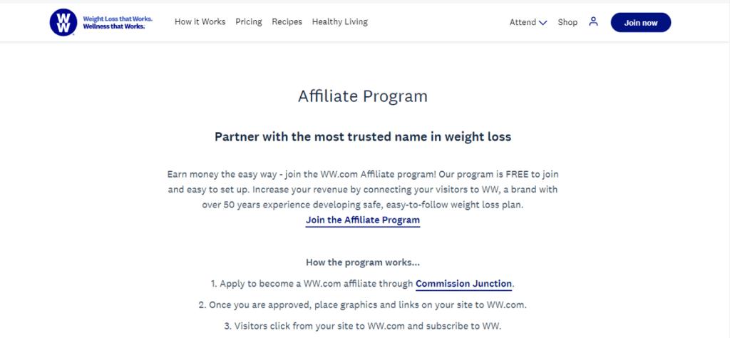 Weight Watchers AFFILIATE PROGRAM
